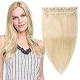 Extensiones de Clip de Pelo Natural Postizos Cabello Humano (Una Pieza 5 Clips) 100% Remy Human Hair - 14'/35CM #60 Rubio Platino