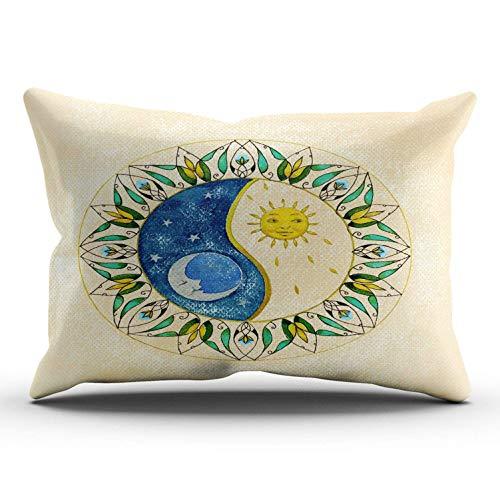 Funda de almohada decorativa para dormitorio, diseño de sol y luna, 16 x 24 pulgadas
