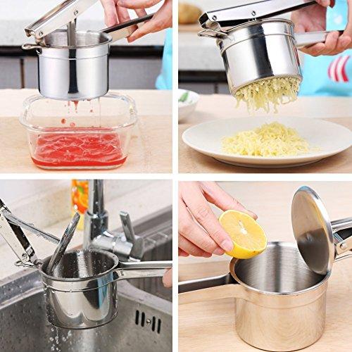 Hihamer Kartoffelpresse Spätzlepresse Kartoffelstampfer Set aus Edelstahl mit 3 austauschbaren Einsätzen (Fein / Mittel / Grob) rostfrei spülmaschinenfest