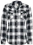 Brandit Camisa a Cuadros de Franela Amy Mujer Camisa de Franela Negro-Blanco L, 100% algodón, Regular