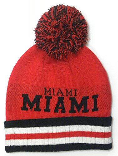 "Neuf Bonnet Généralement de Bonnet en tricot à pompon avec City Nom ""Miami"" New York ""Boston"" Atlanta ""Pittsburgh - - Taille unique"