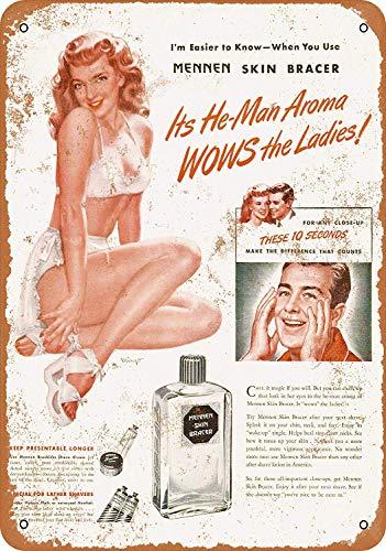 mengliangpu8190 Tin Sign 10 x 14 Metal Sign 1946 Mennen Skin Brace Pin-up Vintage Look Wall Sign Decorative Sign Retro Sign Aluminum Sign