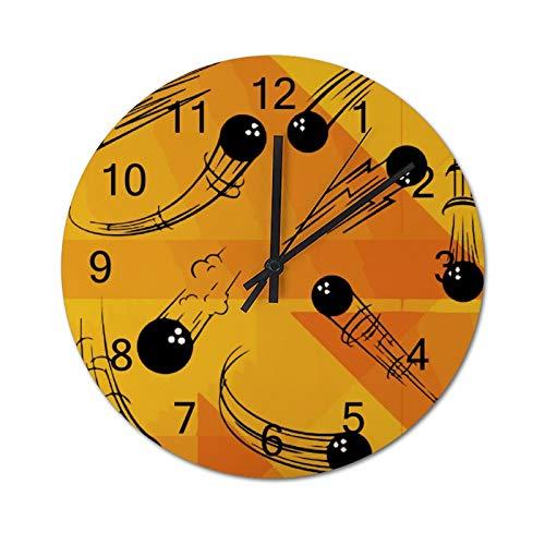 Free Brand Clocks 30,5 cm gelbe Linie, Illustration, Bowlingkugel, Holz-Wanduhr, nicht tickend, hängende Uhr, rund, für Geschenk, Zuhause, Büro, Kinderzimmer, Wohnzimmer, Schlafzimmer