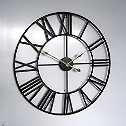 Large Wall Clock, 24 Round Oversized Ancient Roman Numeral Style Home Décor Analog Metal Clock-Indoor Silent Battery Operated Metal Country Farmhouse Decorative Wall Clock for Home(Black &Gold)