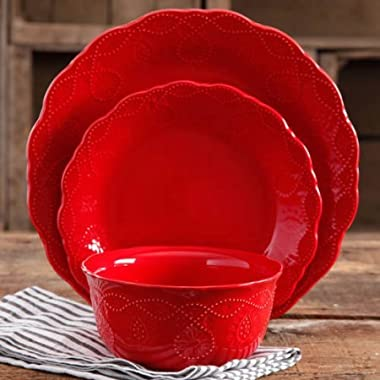 The Pioneer Woman Cowgirl Lace 12-Piece Dinnerware Set - Red