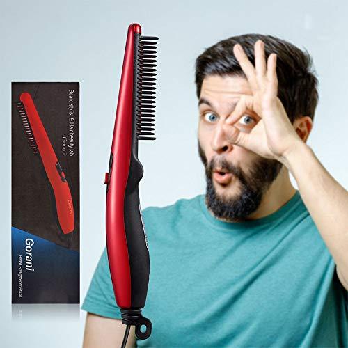 Gorani Beard Straightener Brush Comb for Men Electric Beard Brush Heated Brush Hot Beard Iron Hair Straightener Comb