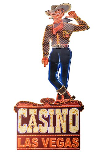 aubaho Blechschild Casino Las Vegas Cowboy Schild Magnettafel Antik-Stil - 80cm