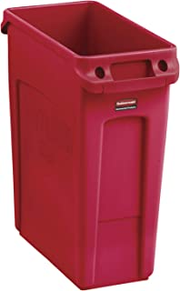 Rubbermaid Commercial Products Slim Jim Plastic Rectangular Trash/Garbage Can with Venting Channels, 16 Gallon, Red (2018370)