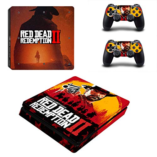 PlayStation 4 Slim Red Dead Redemption 2 Console Skin, Decal, Vinyl, Sticker, Faceplate - Console and 2 Controllers - Protective Cover PS4 Slim
