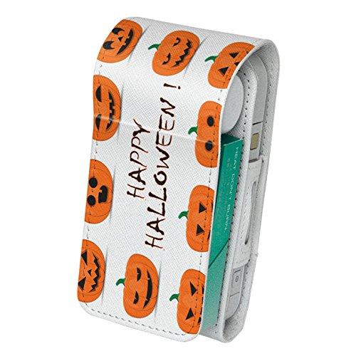 スマコレ iQOS アイコス レザーケース 【従来型/新型 2.4PLUS 両対応】 タバコ 専用 ケース カバー 合皮 カバー 収納 かぼちゃ ハロウィン オレンジ 013393