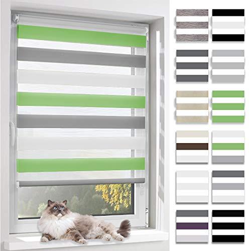 BelleMax Doppelrollo Klemmfix ohne Bohren Duo Rollo Sonnenschutz Rollos für Fenster und Tür, 80x150cm(BxH) Weiss Grau Grün