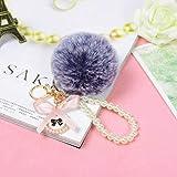 YYhkeby Llavero cadena de perlas de 8 cm llavero de bola de pelo de conejo colgante de bolsa femenina joyería pequeña Jialele (color: azul gris)
