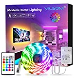 ViLSOM Led Strip Lights 16.4ft RGB 5050 LEDs Color Changing Light Strip Kit with Remote and 12V Power Supply Led Lights for Bedroom, Room, TV, Kitchen and Home Decoration Bias Lighting