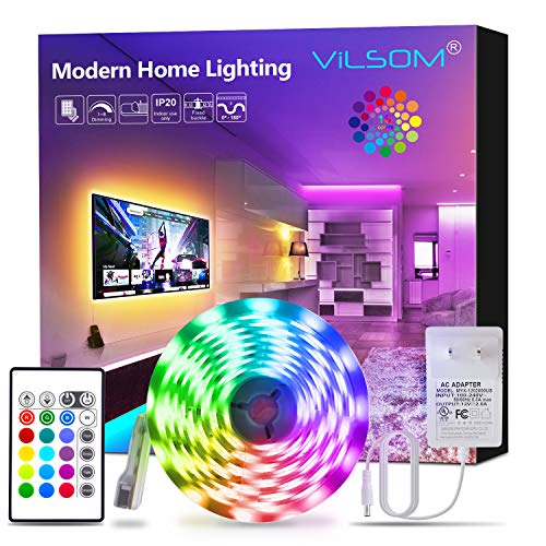 ViLSOM Led Strip Lights, 16.4ft RGB 5050 LEDs Color Changing Light Strip Kit with Remote and 12V Power Supply, Led Lights for Bedroom, Room, TV, Kitchen and Home Decoration Bias Lighting