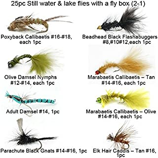 Riverruns Best Assortment Still Water & Lake Collection Total 25 Flies with A Fly Box, Chironomid Bombers, Poxyback Callibaetis, Floating Snail, Adult Damsel Fly Fishing Wet Trout Fishing Flies