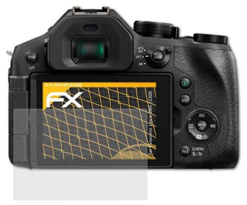 atFoliX Panzerfolie kompatibel mit Panasonic Lumix DMC-FZ300 Schutzfolie, entspiegelnde & stoßdämpfende FX Folie (3X)