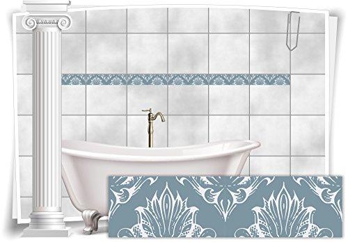 Medianlux Fliesenaufkleber Bordüre Fliesen Aufkleber Vintage Nostalgie Retro Bad WC Küche, 16 Stück, 20x5,2cm (BxH)