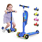 3-Wheeled Scooter for Kids, PU Wheel with LED Lights, Adjustable Lean-to-Steer Handlebar , Foldable Seat, Sit or Stand Ride with Brake for Toddlers Boys & Girls Ages 2-12 Years Old Color Blue