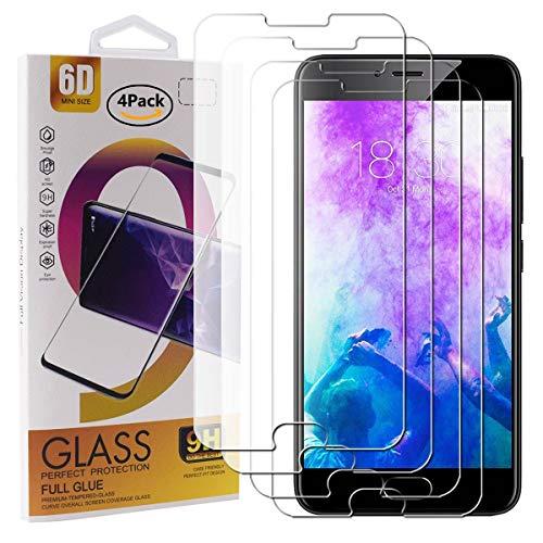 Guran 4 Paquete Cristal Templado Protector de Pantalla para Meizu M5 Smartphone 9H Dureza Anti-Ara?azos Alta Definicion Transparente Película
