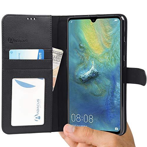 Mate 20 X und Mate 20 X (5G) Hülle [Schwarz] Tasche Mate 20X Brieftasche [Abacus24-7® Bookstyle] Handy-hülle mit Ständer Fächern, kompatibel mit Huawei Mate 20X (5G) Hülle Cover