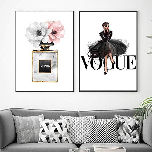 Terilizi Mode zwarte jurk canvas poster Nordic muurkunst parfum met bloemenprint schilderij decoratie afbeelding huis decoratie 40 * 60 cm zonder lijst - 2 stuks