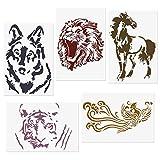 COODHI 5 Packungen Tierschablonen Löwe, Tiger, Pferd, Wolf, Phönix, wiederverwendbare Mylar-Schablonen - DIY Craft Schablonen zum Malen 18x26cm