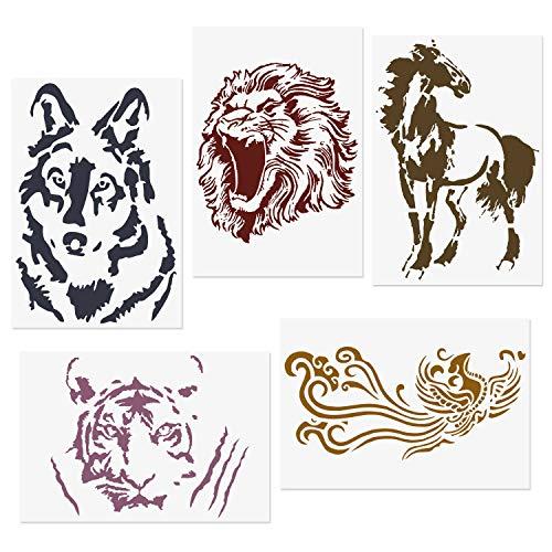 COODHI 5 Packungen Tierschablonen L?we, Tiger, Pferd, Wolf, Ph?nix, wiederverwendbare Mylar-Schablonen - DIY Craft Schablonen zum Malen 18x26cm