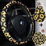Sunflower Steering Wheel Cover for Women with Sunflower Car Cup...