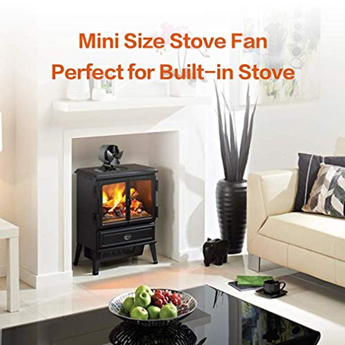 Small Silent Wood Log Burner Stove Fan for Fireplace Accessories,Mini Burning Heat Powered Fans with Thermometer