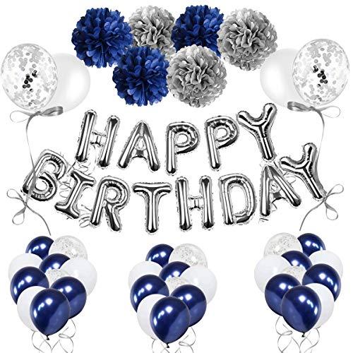 AivaToba - Palloncini per compleanno, da uomo, colore: blu navy, per bambini, donne, ragazze, con palloncini bianchi, blu, coriandoli in argento, per 18° 30° 40° 50° 60° festa