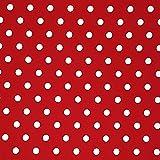 Sugarapple Stoff wasserabweisend, wasserdicht | Meterware Baumwolle beschichtet | Wachstuch | 1 Stück Größe ca. 50 cm x 155 cm | TOP Qualität zum Nähen | Punkte rot weiß
