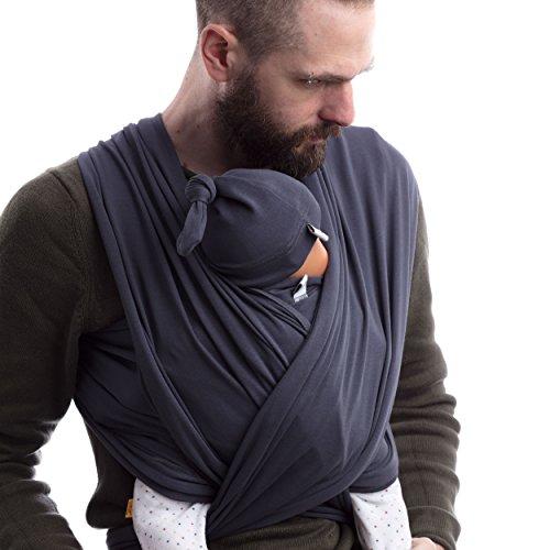 SCHMUSEWOLKE Flexi Erstlingstuch Baby Tragetuch Neugeborene Dark Grey Baumwolle 56 x 500 cm Babysize 0-6 Monate 2,8-8 kg Bauchtrage