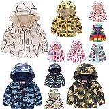 Baby Kids Cartoon Floral Print Zip Up Jacket Hooded Trench Lightweight Windproof Coat Cute Windbreaker Casual Outerwear