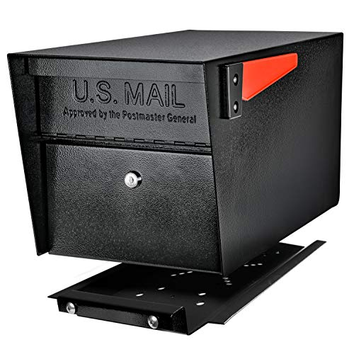 Mail Boss 7500 Mail Manager Pro Curbside Security, Black Locking Mailbox with House Numbers and Mounting Plate