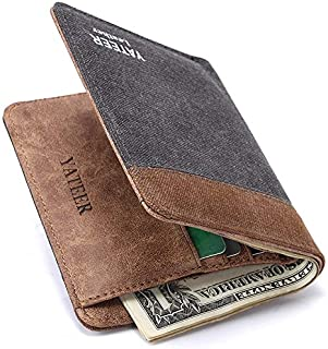 LDUNDUN-BAG, 2019 New Men's Short Canvas Wallet Vertical Wallet Card Package (Color : Brown-b, Size : S)
