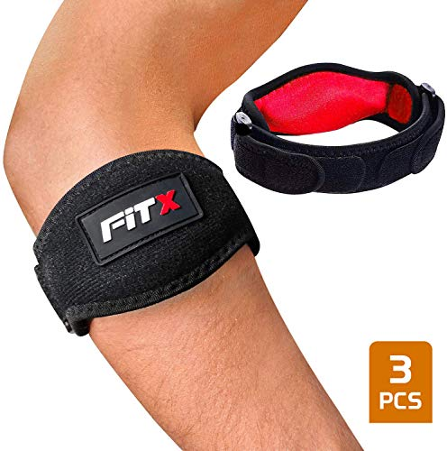 FitX Tennis Elbow Brace with Strap Golfers Elbow Support for Men Women Compression Pad Tendonitis Pain Relief Adjustable Arm Band E-Book (Black Red Set)