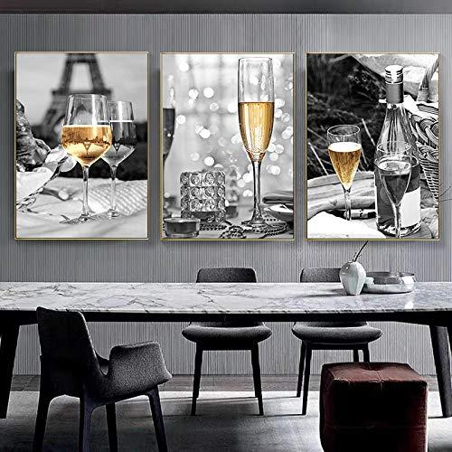 Kuingbhn Impresiones y Carteles de Arte de Pared Champán Amarillo Vino y Botella Torre de Cocina Lienzo de Pintura Cuadros para la decoración del Comedor -50x70cm Sin Marco