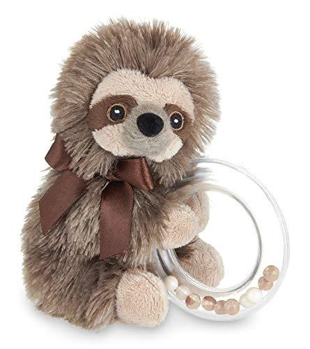 Bearington Baby Lil#039 Speedy Plush Stuffed Animal Sloth Shaker Rattle Ring Rattle 55 inches