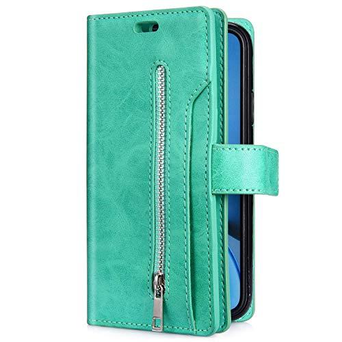 Uposao Kompatibel mit Samsung Galaxy A31 Hülle Leder Flip Schutzhülle Multifunktional Reißverschluss 9 Kartenfächer Handyhülle Brieftasche Wallet Case Handytasche Magnetisch,Grün