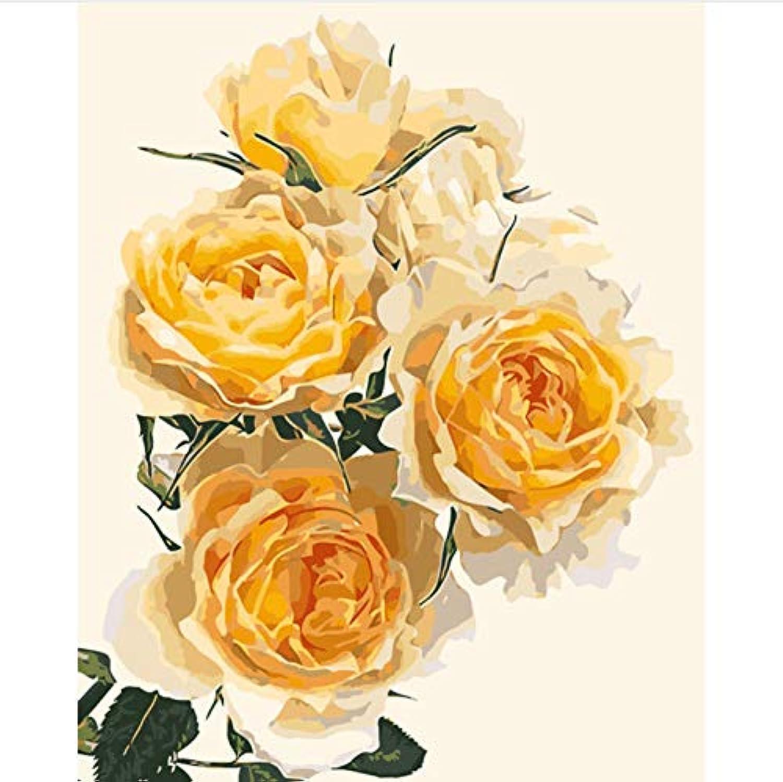 CZYYOU DIY Malen Nach Zahlen Malen Nach Zahlen Für Wohnkultur Für Wohnzimmer Gelbe Rosa, Mit Rahmen, 40x50cm B07Q3ZJ4ZK   Ausgezeichnetes Preis