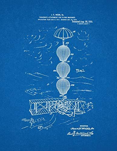 """Accesorio de paracaídas para máquinas voladoras modelo de impresión de patente (8.5"""" x 11"""") M10841"""