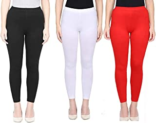 Ssretail Women's & Girl's Lycra cotton Ankle Length Free Size Leggings Combo of 3 (premium quality)