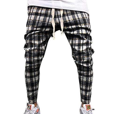 Pantalones Casuales de la Tela Escocesa de la Moda de los Hombres, Pantalones de la Aptitud de los Deportes de la Elasticidad del Lazo de la Cintura elástica