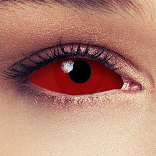 "Designlenses, Dos Sclera lentillas de color rojo para Bruja disfraz Halloween 22mm Zombie lentillas de seis meses sin dioprtías/corregir + gratis caso de lente ""Red Witch"