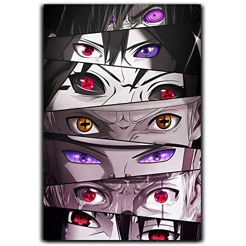 DRAGON VINES Anime Krankheit Naruto Eyes Poster beliebte Kunst Gemälde Home Artwork Uchiha Madara ReinCarnation Eye Sasuke Uchiha ReinCarnation Schreiben rundes Auge 40,6 x 61 cm