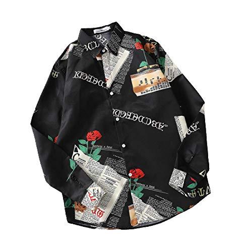 Camisas de Manga Larga con diseño de Solapa para Hombres, Estampado de Moda, Estilo Callejero, Suelto, Informal, cómodo, Camisa Delgada XXL