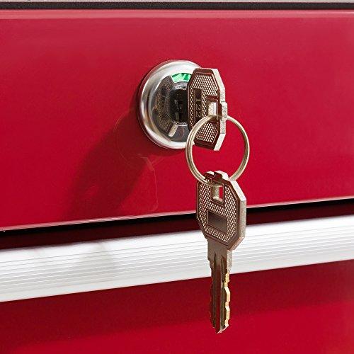 Arebos Werkstattwagen 5 Fächer/zentral abschließbar/Anti-Rutschbeschichtung/Räder mit Festellbremse/Massives Metall/rot, blau oder schwarz (rot) - 8