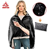 RTDEP USB Heated Shawl with Pillowcase Heated Blanket Plush Throw Blanket, Heated Throw Electric Lap Blanket as a Pillow,Heated Cape Heated Flannel Blanket 44.8x35.2 Inch(Black)