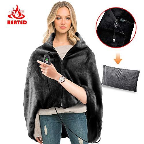 RTDEP USB Heated Shawl with Pillowcase Heated Blanket Plush Throw Blanket , Heated Throw Electric Lap Blanket as a Pillow,Heated Cape Heated Flannel Blanket 44.8x35.2 Inch(Black)