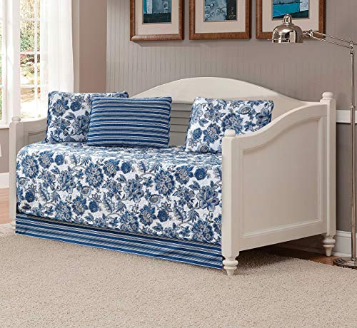 Kids Zone Home Linen 5 Piece Daybed Bedspread Set Floral Printed Pattern Blue White